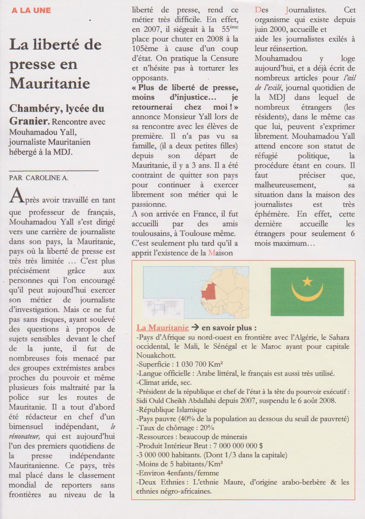 la libert 233 de la presse en mauritanie la maison des journalistes
