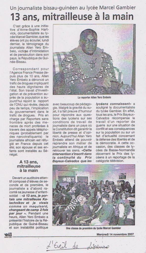 13 ans, mitrailleuse à la main (L'Éveil de Lisieux, le 16 nov. 2007)