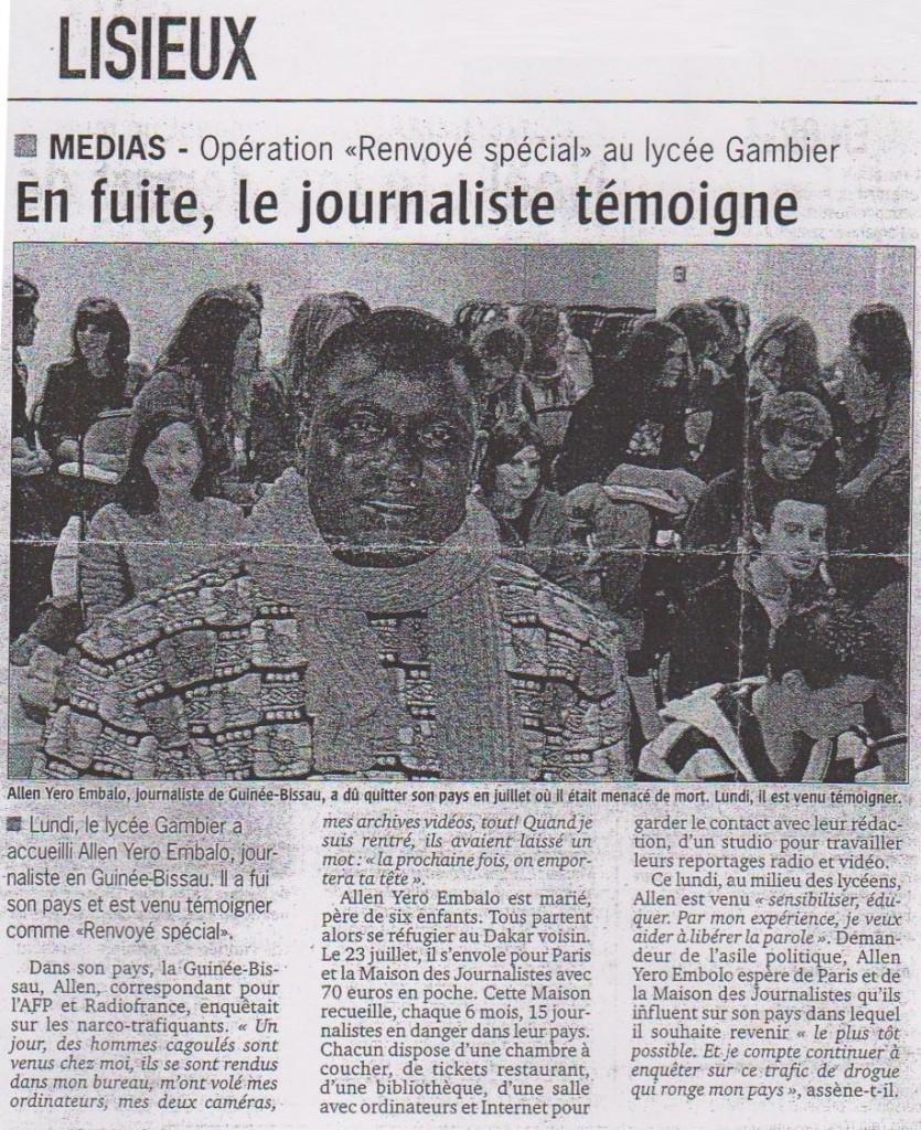 En fuite, le journaliste témoigne (Le Pays d'Auge, le 16 nov. 2007)