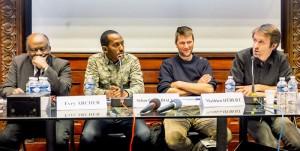 Evry Archer, journaliste haïtien, également psychologue et médecin psychiatre, président fondateur de la Communauté haïtienne du NpdC, Sékou Chérif Diallo, journaliste et sociologue guinéen, Mathieu Hébert, président du Club de la Presse et Nicolas Kaciaf, maître de conférences à l'IEP de Lille et animateur de la soirée