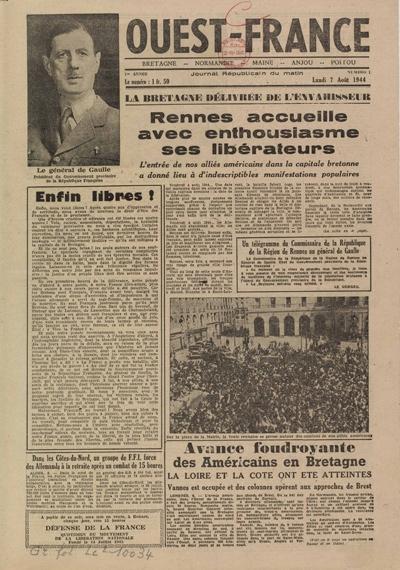 Une de Ouest-France, 7 août 1944, © Ouest France - BnF, département Droit,économie, politique – 2012