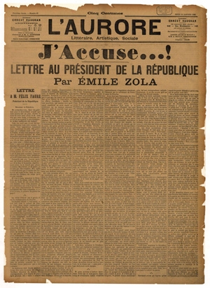 L'Aurore, 13 janvier 1898, article d'Emile Zola : « J'accuse …! » © BnF, départementDroit, économie, politique – 2012
