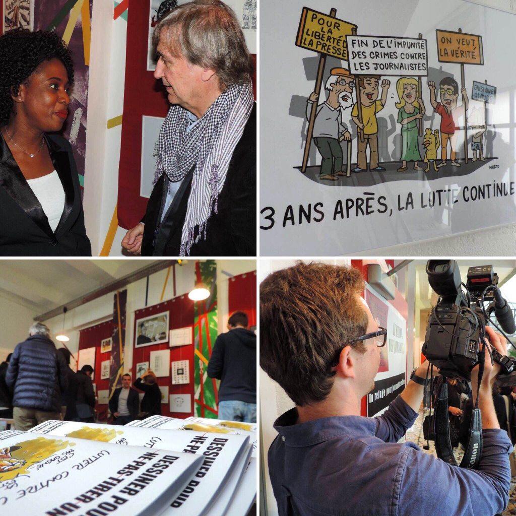 """Vernissage de l'exposition """"Dessiner pour ne pas tirer un trait"""" le jeudi 27 octobre 2016 à la Maison des journalistes Crédits photo : Tijani Ahmed LEMRABOTT"""