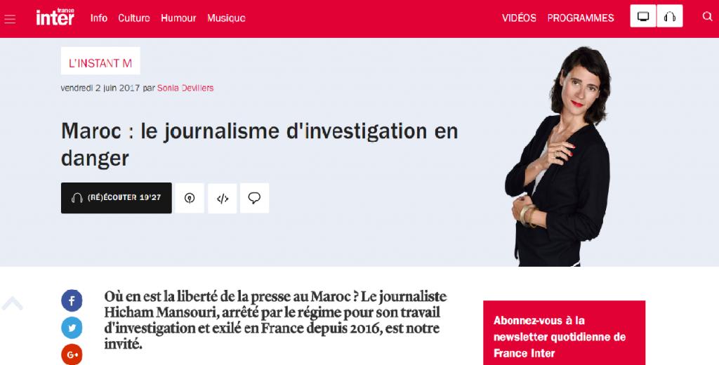 Hicham Mansouri sur France Inter © France Inter